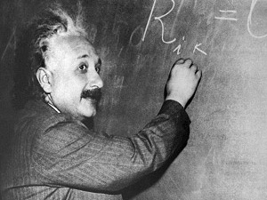 Albert Einstein at the chalkboard